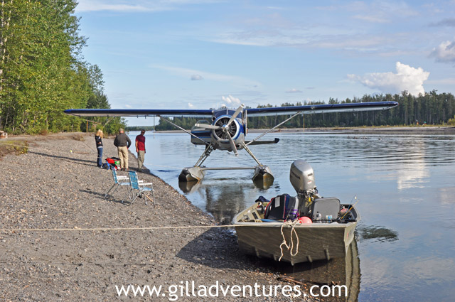 float plane and jet sled on little lake creek, alaska