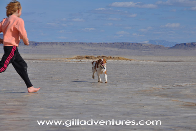 Dog and child running on the Alvord Desert