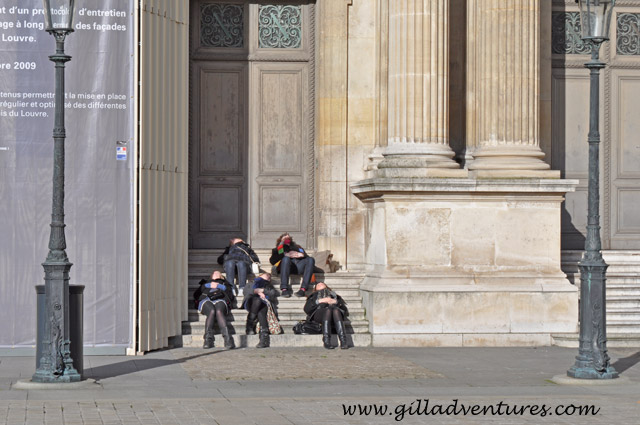 sunning at the Louvre