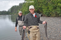 silver salmon catch on lake creek, alaska