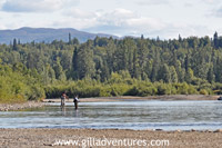 a couple fly fishing for silver salmon on the Tal