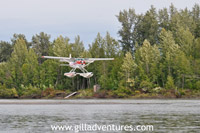 float plane landing on the Yentna while we fly fish