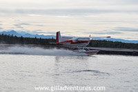 landing float plane in Alaska