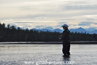 Late day salmon fishing on the Yentna River, Alaska