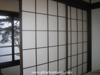 rice paper wall at japanese inn