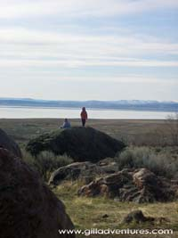 children on an adventure looking at the alvord desert