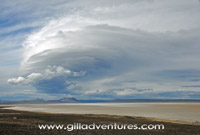 storm clouds gathering over the Alvord Desert