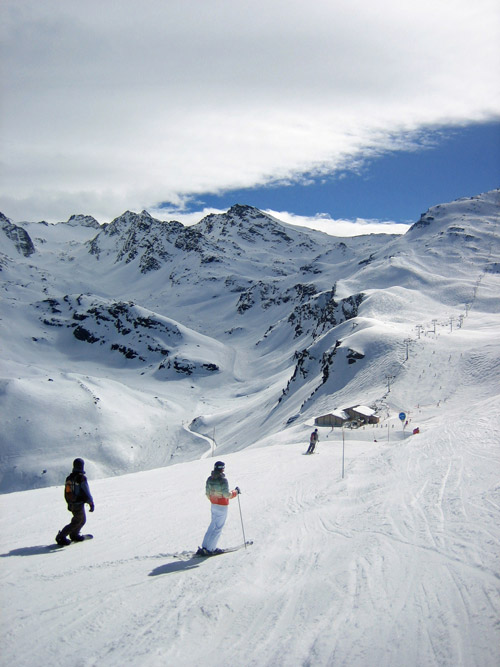 Skiing in the Three Valleys, France, on a trip in 2008.