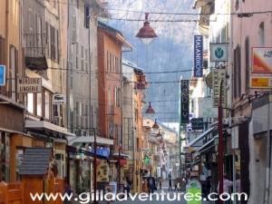 Moutiers, France, pedestrian street
