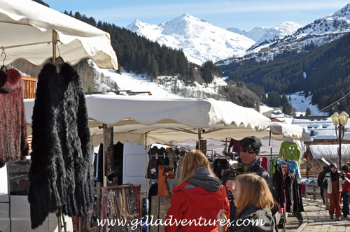Open market booths in Meribel Center