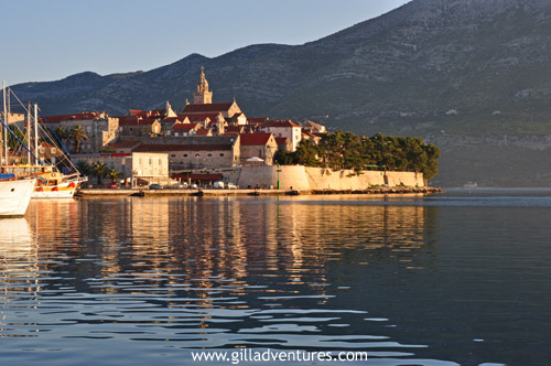 Korčula, Croatia, lit by the early morning light.
