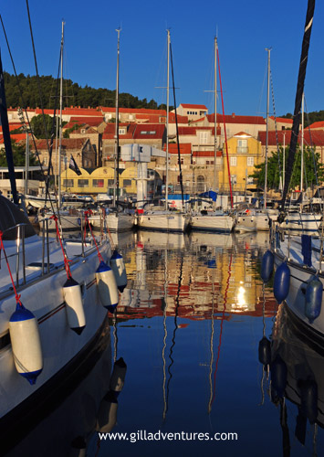 Sailboats and the harbor in Korčula, Croatia